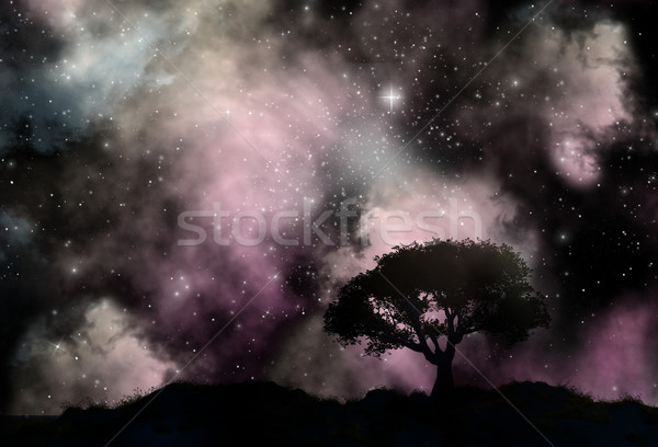 Tree silhouette against a starfield sky Stock photo © kjpargeter