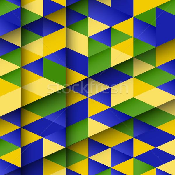 Soyut dizayn Brezilya bayrak renkler spor Stok fotoğraf © kjpargeter