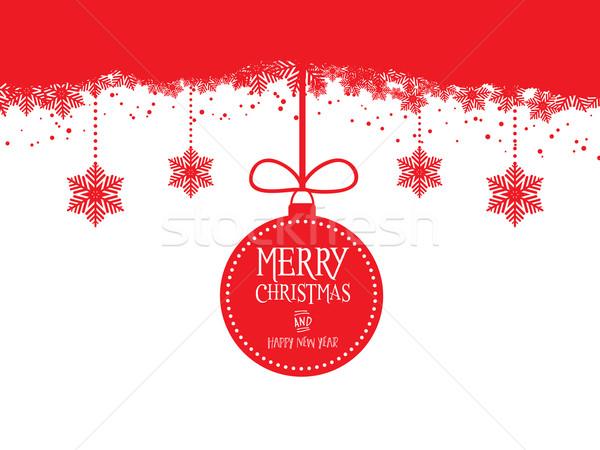 Karácsony akasztás hó háttér ajándék ünnep Stock fotó © kjpargeter