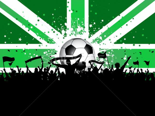 Futbol kalabalık afişler bayraklar İngiliz bayrağı siluet Stok fotoğraf © kjpargeter
