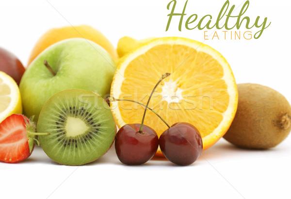 Friss gyümölcs vektor alma háttér narancs eper Stock fotó © kjpargeter