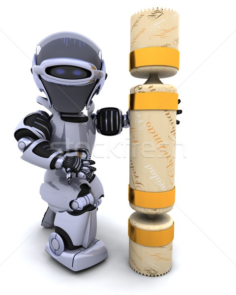 ストックフォト: ロボット · クリスマス · 3dのレンダリング · 将来 · ギフト · 休日