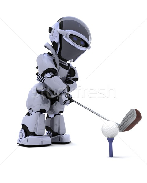 robot with club playing golf Stock photo © kjpargeter