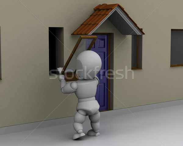 man fitting window to house Stock photo © kjpargeter