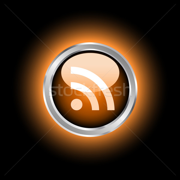 Rss ikona przycisk Internetu świat Zdjęcia stock © kjpargeter