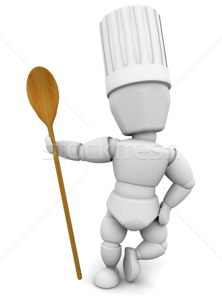 Chef with wooden spoon Stock photo © kjpargeter