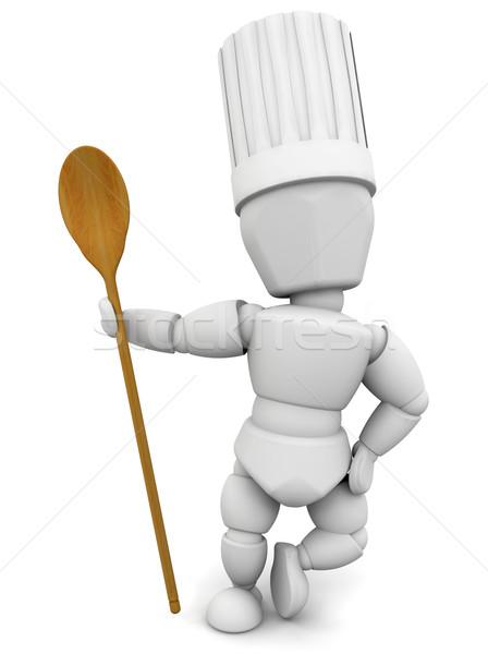 Chef cuchara de madera 3d mujer cocina cocinar Foto stock © kjpargeter