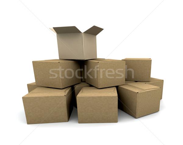 Stockfoto: Dozen · 3d · render · vak · levering · handel