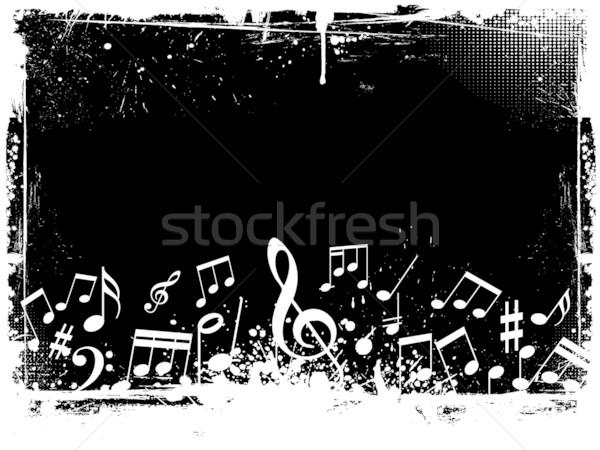 Stok fotoğraf: Grunge · müzik · notaları · doku · arka · plan · notlar · sıçramak