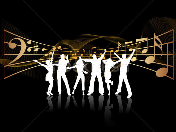 Festa pessoas silhuetas dança música menina Foto stock © kjpargeter