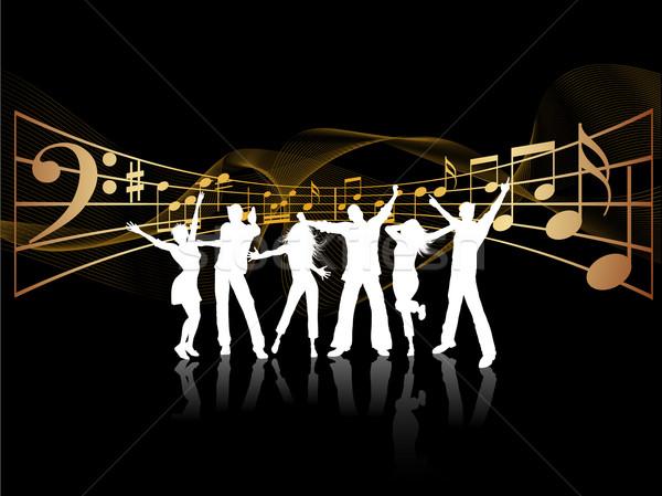 Fiesta personas siluetas baile música nina Foto stock © kjpargeter