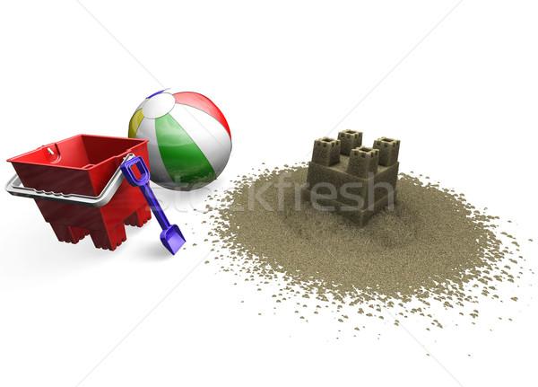 Zandkasteel strandbal emmer spade 3d render strand Stockfoto © kjpargeter