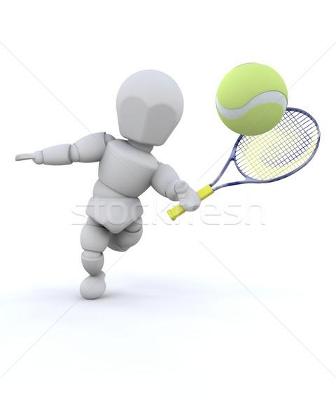 Tennisspieler 3d render Tennis spielen Spiel gesunden Stock foto © kjpargeter