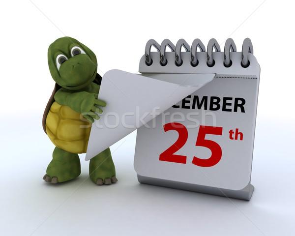 tortoise with a calendar Stock photo © kjpargeter