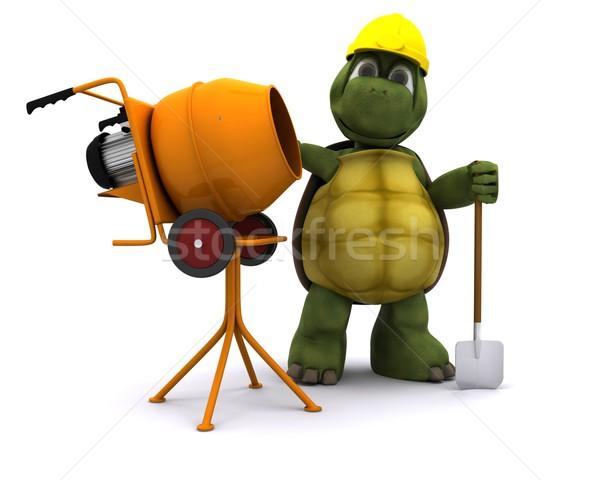 Foto stock: Tortuga · constructor · cemento · mezclador · 3d · océano