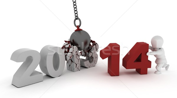 2014 new year wrecking ball Stock photo © kjpargeter