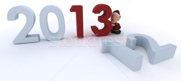 Karácsony manó új év 3d render boldog tél Stock fotó © kjpargeter