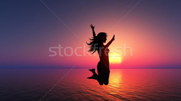 Female jumping for joy  Stock photo © kjpargeter