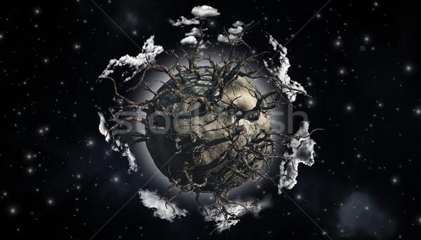 Stockfoto: Abstract · planeet · scène · 3d · render · gedekt · dode