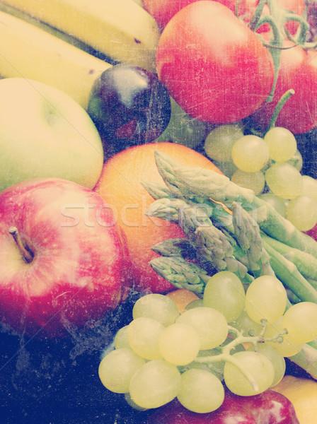 Vintage fruit and vegetables Stock photo © kjpargeter