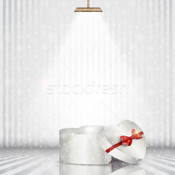 Рождества шкатулке Spotlight здании фон комнату Сток-фото © kjpargeter