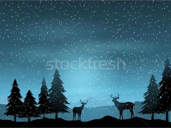 Deer in winter landscape  Stock photo © kjpargeter