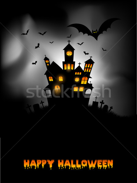 Kisértetjárta ház halloween ijesztő fa kereszt Stock fotó © kjpargeter