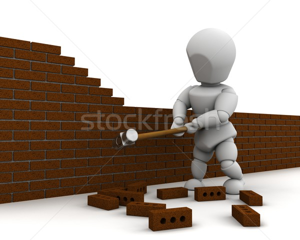 man demolishing a wall with a sledge hammer Stock photo © kjpargeter
