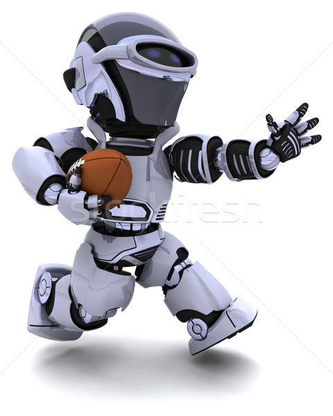Stok fotoğraf: Robot · oynama · amerikan · futbol · 3d · render · spor