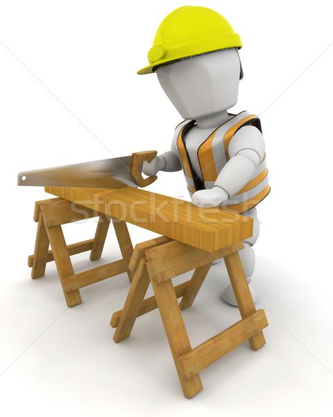 Stock fotó: építőmunkás · 3d · render · férfi · munka · szerszámok · munkás