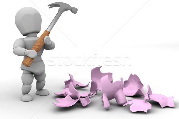 Smash the piggy bank Stock photo © kjpargeter