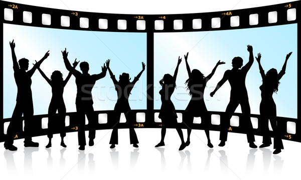 Filmstrip jeugd silhouetten mensen dansen meisje Stockfoto © kjpargeter