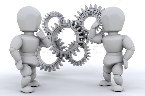 Problémamegoldás együtt dolgozni megold probléma nő férfi Stock fotó © kjpargeter