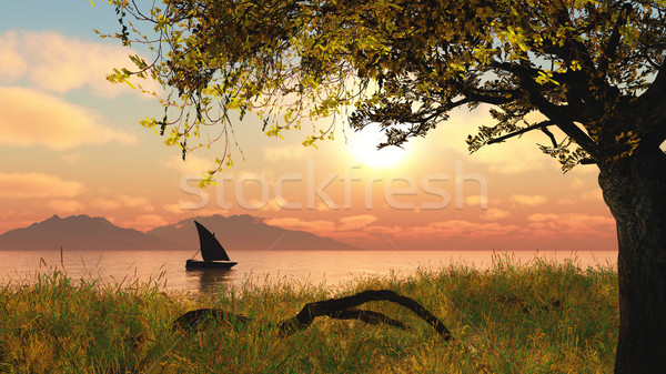 3D landscape with boat on river Stock photo © kjpargeter