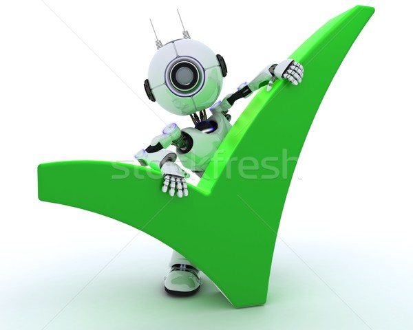 Robot with tick symbol Stock photo © kjpargeter