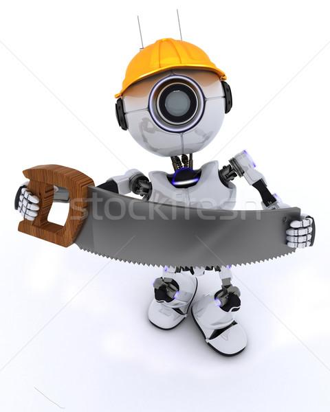 Robot bouwer zag 3d render man bouw Stockfoto © kjpargeter