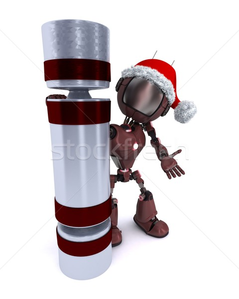 Android with a christmas cracker Stock photo © kjpargeter