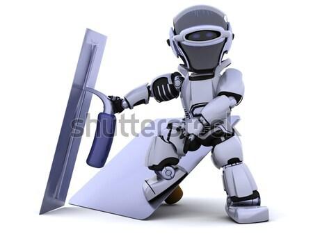 Zdjęcia stock: Robot · schowek · pola · 3d · biuro · polu