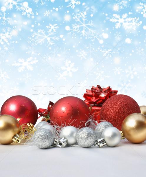 Stock fotó: Karácsony · díszítések · hópehely · háttér · tél · csillag