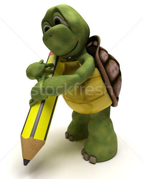 черепаха карандашом 3d визуализации воды пер Сток-фото © kjpargeter