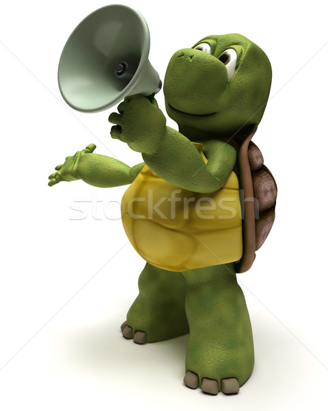 Tortoise shouting in a bull horn Stock photo © kjpargeter