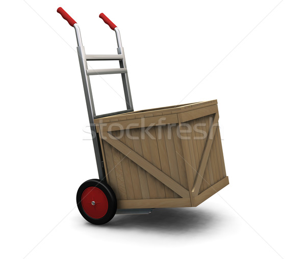 Hand truck with crate Stock photo © kjpargeter