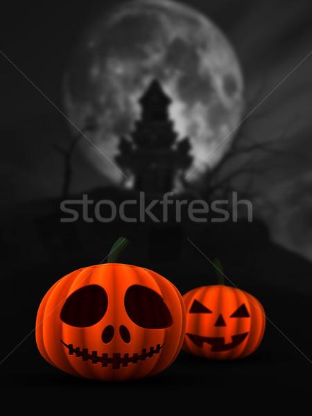 3D ijesztő tökök kisértetjárta kastély tájkép Stock fotó © kjpargeter