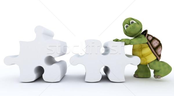 Teknősbéka kirakós játék 3d render óceán kagyló játék Stock fotó © kjpargeter