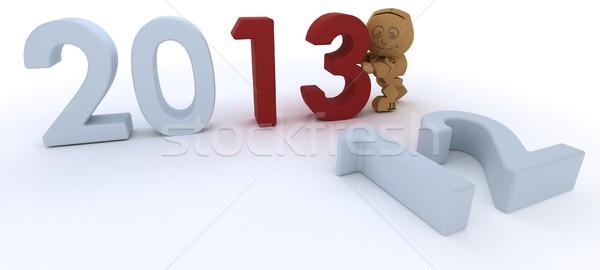 Cardboard Box figure  bringing in the new year Stock photo © kjpargeter