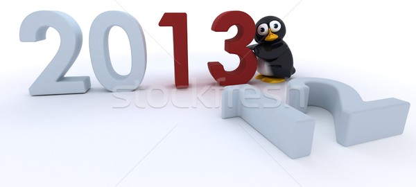 Glossy Penguin Character bringing in the new year Stock photo © kjpargeter
