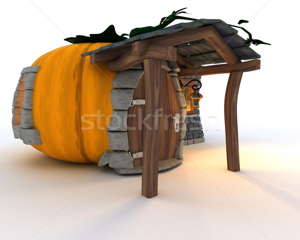 Halloween Pumpkin Cottage Stock photo © kjpargeter