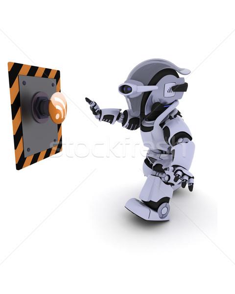 Robot popychanie przycisk 3d przyszłości nowoczesne Zdjęcia stock © kjpargeter