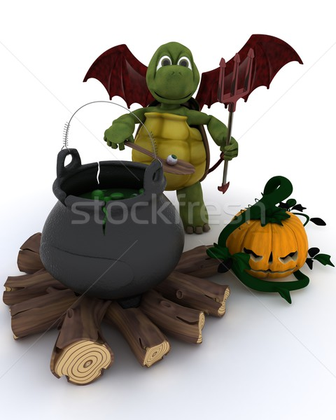 Deamon Tortoise with cauldron of eyeballs on log fire Stock photo © kjpargeter