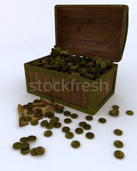 Kincsesláda tele arany érmék térkép kulcs 3d render Stock fotó © kjpargeter